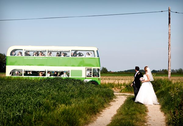 Wigwam Marquees Sussex wedding traditional canvas Marquee hire Round Ended double decker bus