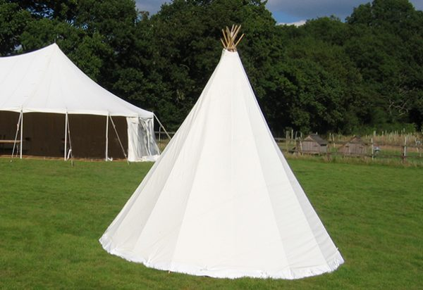 Wigwam Marquees West Sussex canvas round cream marquee hire Tom & Jemima