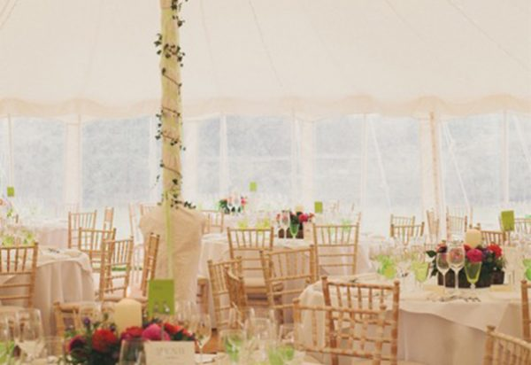 Wigwam Marquees Kent wedding outside ceremony and marquee in the garden Oliver & Nicky