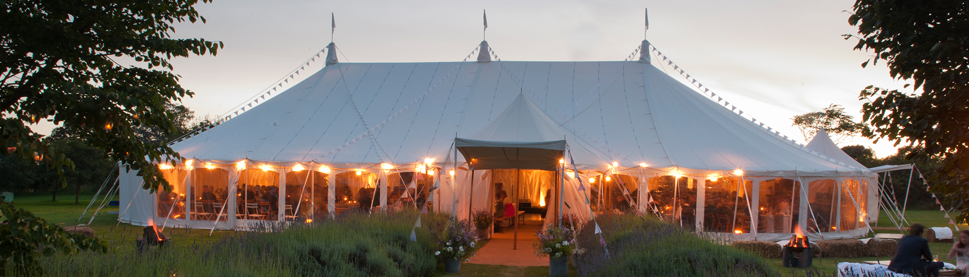 Wigwam Marquees traditional canvas wedding marquee hire Surrey Round and Round Ended luxury marquees 1